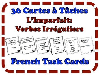 French Imperfect (Irregular Verbs) Task Cards