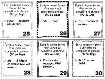 French Imperfect, Passé Composé & Adverbs Task Cards, Verbs
