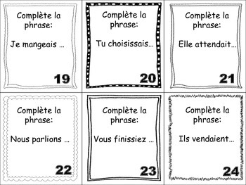 French Imperfect (Regular Verbs) Task Cards