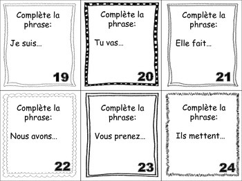 French Irregular Verbs Task Cards