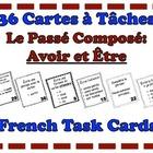French Passé Composé (Avoir and Être) Task Cards, Verbs