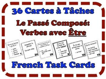 French Passé Composé (Être) Task Cards, Verbs