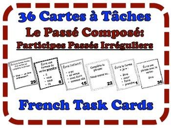 French Passé Composé (Irregular Past Participles) Task Cards, Verbs