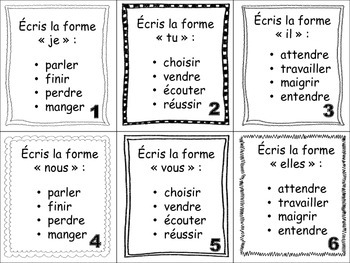 French Regular Verbs (ER, IR, RE) Task Cards