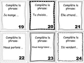 French Regular Verbs (ER, IR, RE) Task Cards