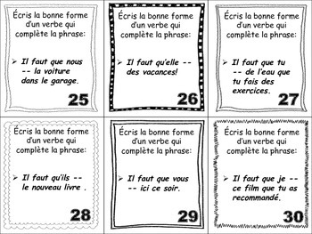 French Subjunctive (Irregular Verbs) Task Cards