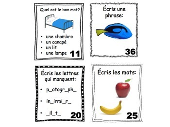 French Task Cards: Vocabulary (11 Sets, 430 Cards)