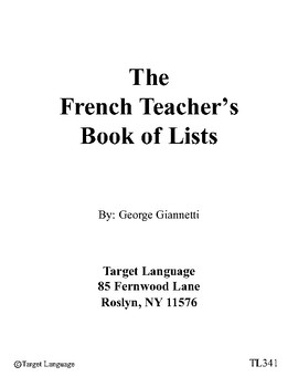 French Teacher's Book of Lists
