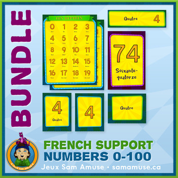 French Numbers 0 to 100 • Posters & Flash Cards Bundle • Circus Theme