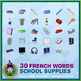 French Teaching Material - School Supplies - Abstract