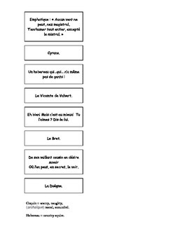 French Teaching Resources. Cyrano De Bergerac Act 1 Matching Cards.