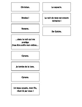 French Teaching Resources. Cyrano De Bergerac Act 3 Matching Cards.