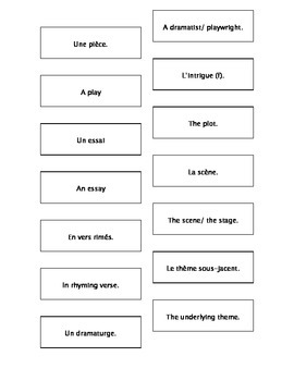 French Teaching Resources. Cyrano De Bergerac. Literary Terms Matching Cards.