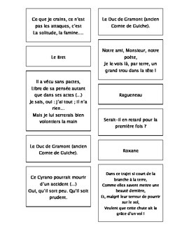 French Teaching Resources. Cyrano De Bergerac Matching Cards Act 5.