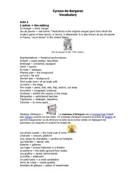 French Teaching Resources. Cyrano De Bergerac Vocabulary Booklet.