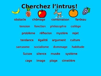 French Teaching Resources. Nouns. Odd One Out Warmer.
