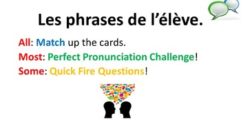 French Teaching Resources. Student Classroom Phrases Matching Cards & PowerPoint