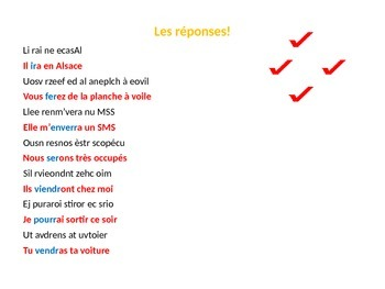 French Teaching Resources. The Future Tense Unjumbling Warmer Activity.