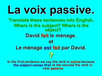 French Teaching Resources. The Passive Voice.