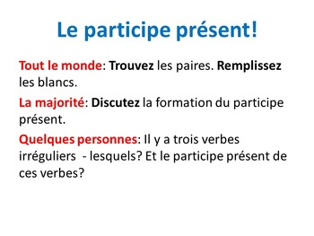 French Teaching Resources. The Present Participle.