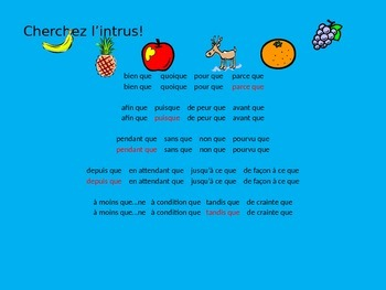 French Teaching Resources. The Subjunctive & Conjunctions.