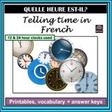 French – Telling Time Activities- includes 24 hour clock