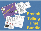French Telling Time Bundle - Reference Sheet, Practice Sheet, Task Cards
