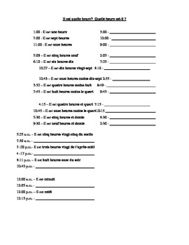 French Telling Time Handout