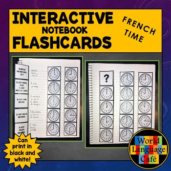 French Telling Time Interactive Notebook Flashcards, L'Heure