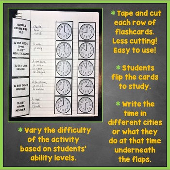 French Time Flashcards, Interactive Notebook, French Telling Time, L'Heure