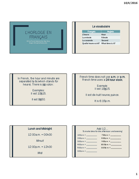 French Telling Time Lesson Handout