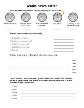 French Telling Time Practice (Quelle heure est-il?)