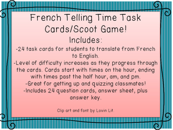 French Telling Time Task /Scoot Cards