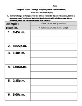 Level 5 French Telling Time Worksheet