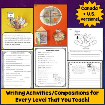 French Thanksgiving Writing Activities, L'Action de Grâce