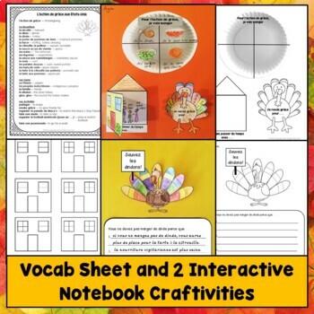 French Thanksgiving Interactive Notebook Craftivities, l'Action de grâce
