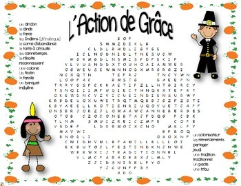 French Thanksgiving Day Word Search ~ Action de grâce