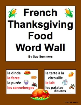 French Thanksgiving Food Word Wall - Jour de L'Action de Grâce