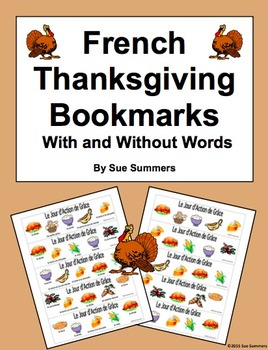French Thanksgiving Foods Bookmarks With and Without Vocab