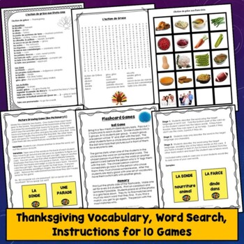 French Thanksgiving Games, Activities, l'Action de grâce