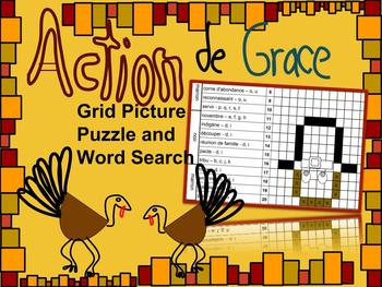 French Thanksgiving Grid Puzzle and Word Search