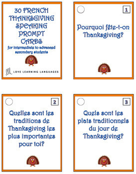 French Thanksgiving Question Cards - 30 French Thanksgiving Speaking Prompts