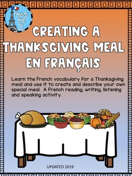 French Thanksgiving Speaking, reading, writing activity L'action de grace