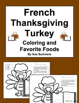 French Thanksgiving Turkey Coloring and Favorite Foods