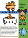 French Thanksgiving Vocabulary sheets L'action de grace