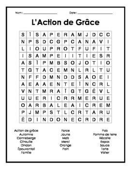 French Thanksgiving Word Search - Mots cachés français sur l'action de grâce