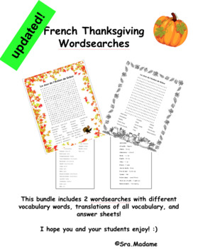 French Thanksgiving Wordsearch