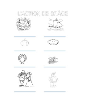 French Thanksgiving coloring page - L'action de grâce coloriage