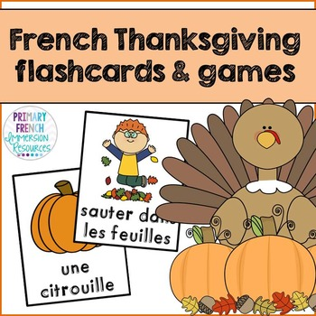 French Thanksgiving flashcards & BANG vocabulary game - L'action de grâce