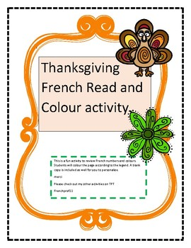 French Thanksgiving number and colour review read and colour activity.